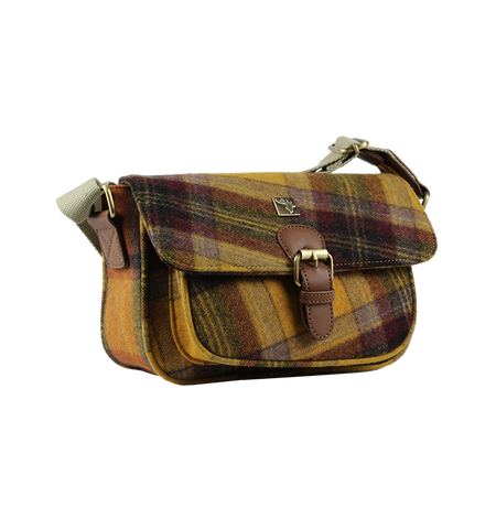 Tweed Satchel Shoulder Bag in Brown and Blue