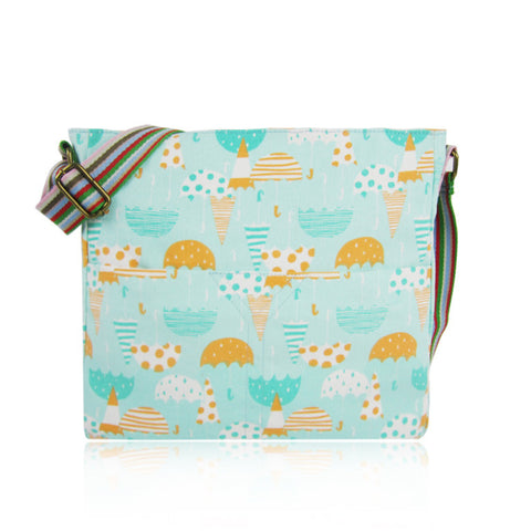 Blossom Flower Canvas Crossbody Bag in Biege