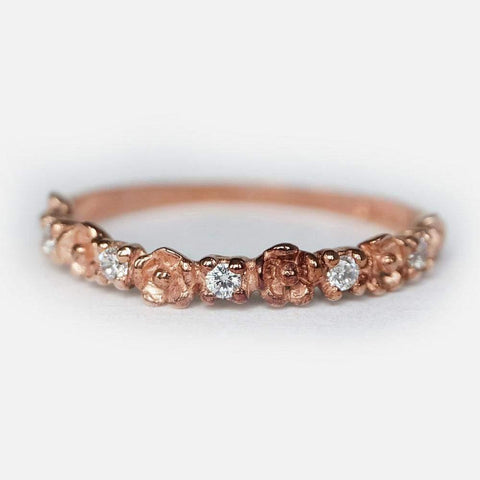0.14 Carats 14k Solid Rose Gold Diamond Engagement Ring
