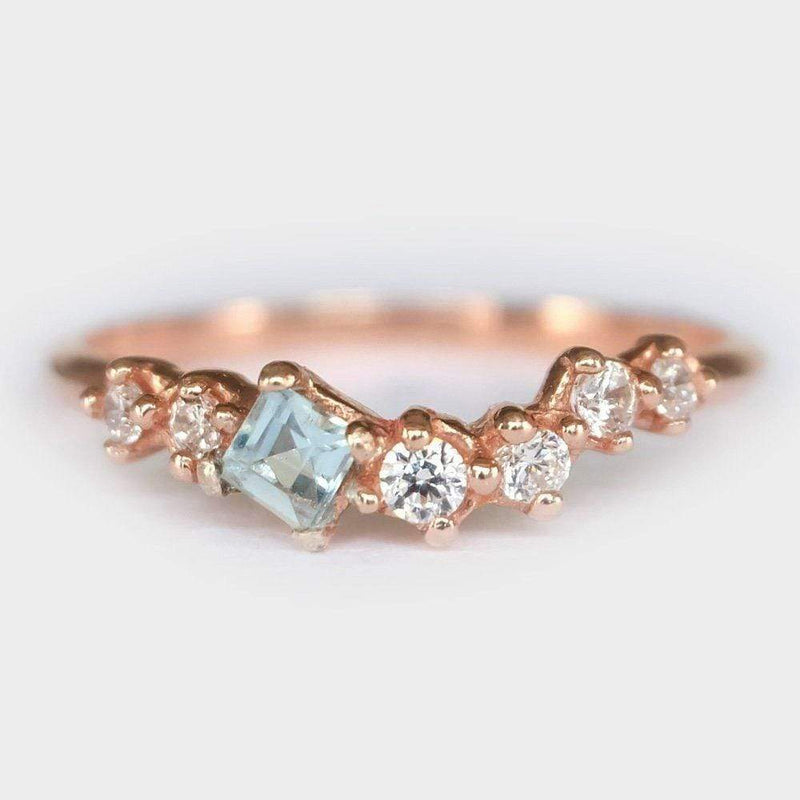 0.08 Carats 14k Solid Rose Gold Aquamarine Engagement Ring - SOVATS
