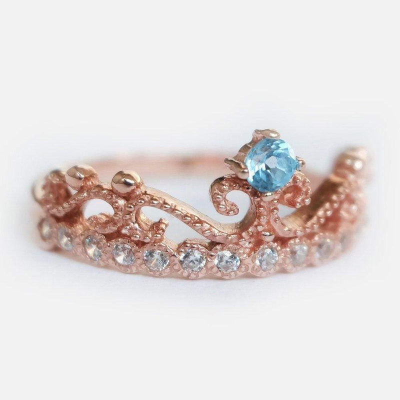 0.10 Carats 14k Solid Rose Gold Aquamarine Engagement Ring - SOVATS