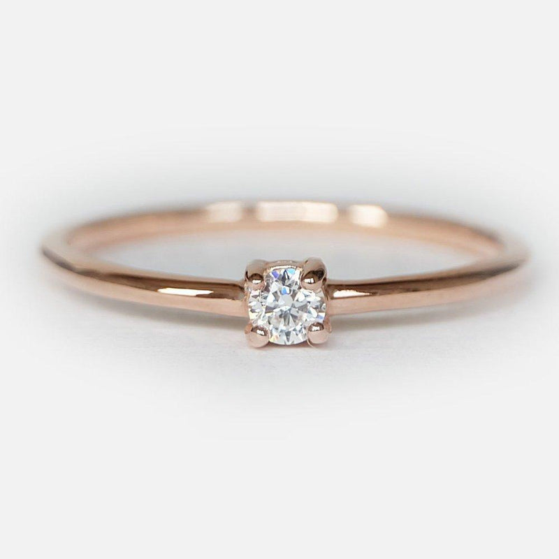 0.10 Carats 14k Solid Rose Gold Diamond Solitaire Ring - SOVATS