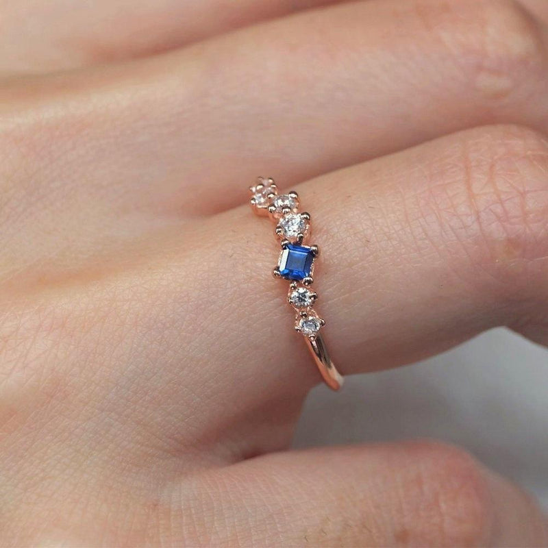 0.12 Carats 14k Solid Rose Gold Sapphire Engagement Ring - SOVATS