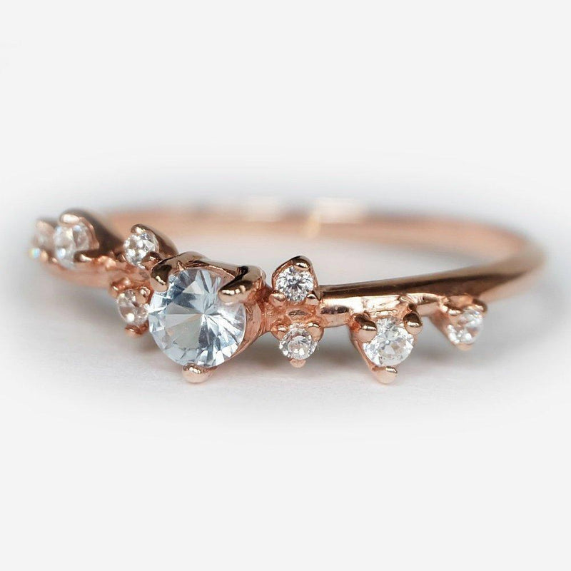 0.25 Carats 14k Solid Rose Gold Aquamarine Engagement Ring - SOVATS