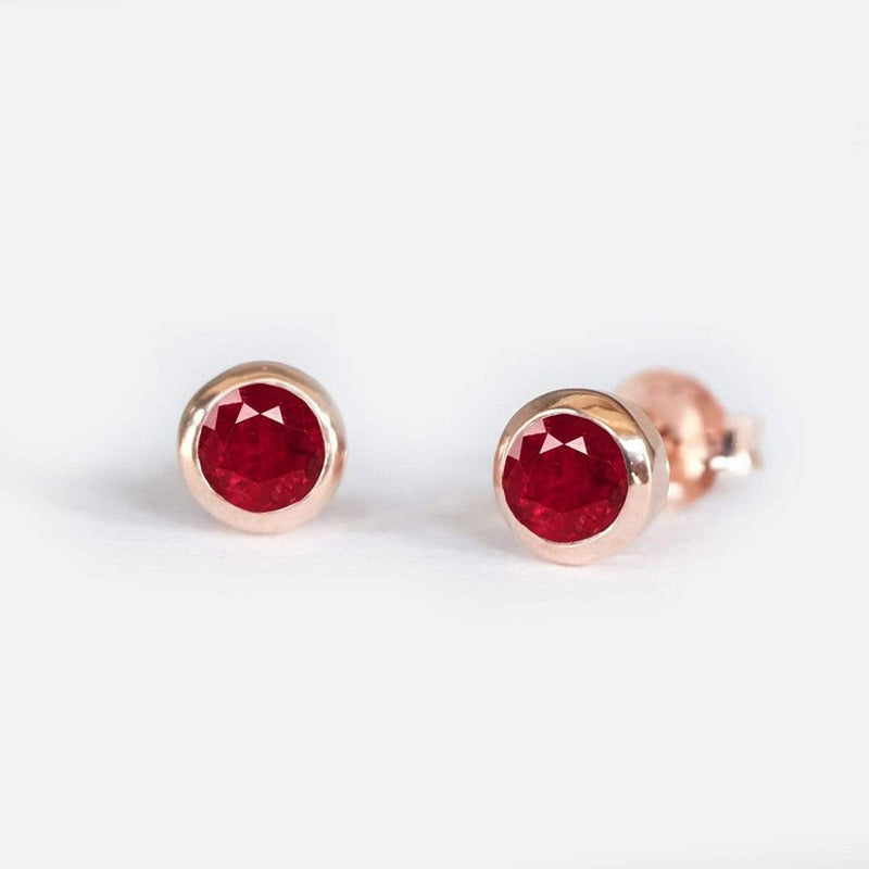 0.38 Carats 14k Solid Rose Gold Ruby Earrings - SOVATS