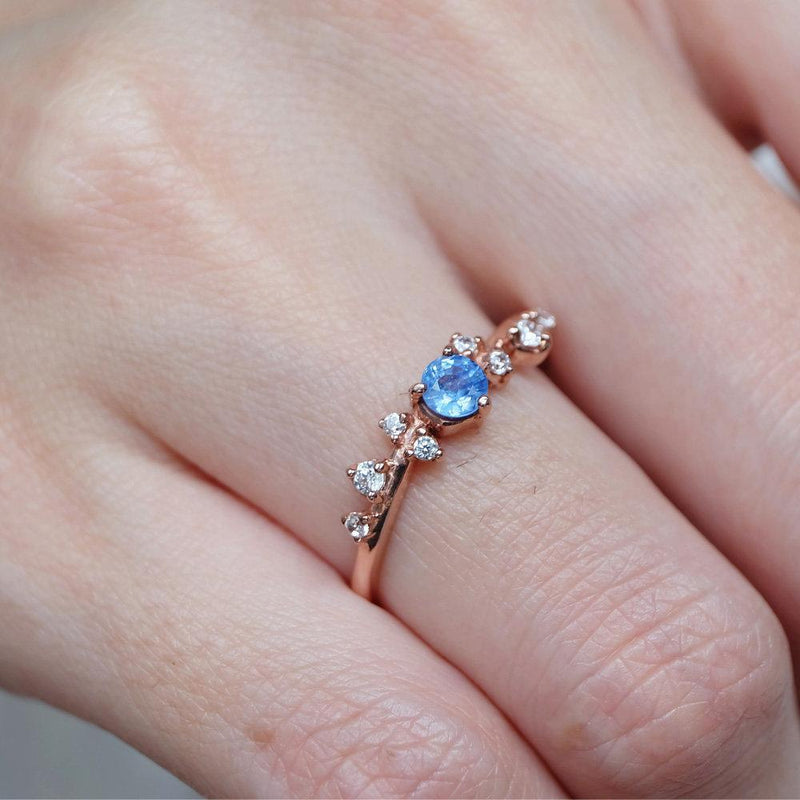 0.38 Carats 14k Solid Rose Gold Sapphire Engagement Ring - SOVATS