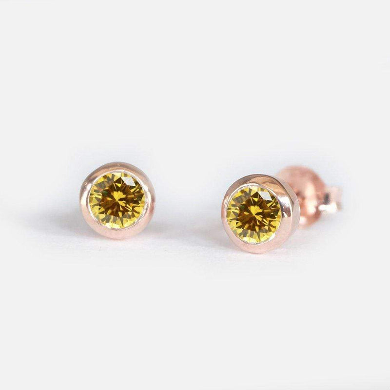 0.38 Carats 14k Solid Rose Gold Yellow Sapphire Earrings - SOVATS