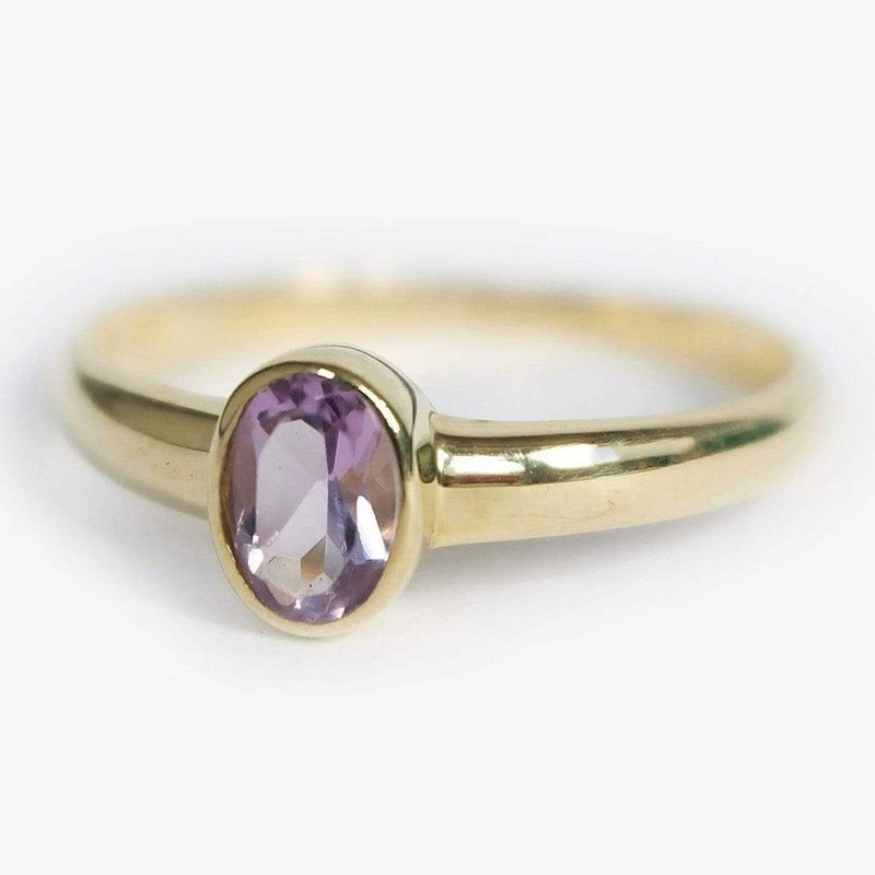 0.39 Carats 14k Solid Gold Amathyst Engagement Ring - SOVATS