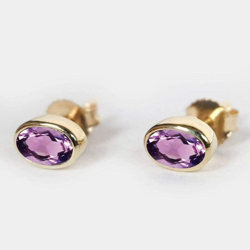 0.39 Carats 14k Solid Gold Amethyst Earrings - SOVATS