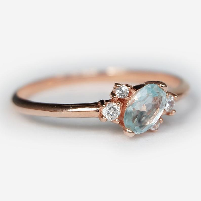 0.39 Carats 14k Solid Rose Gold Aquamarine Engagement Ring - SOVATS