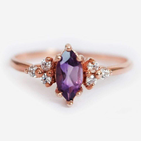 0.15 Carats 14k Solid Rose Gold Yellow Sapphire Engagement Ring