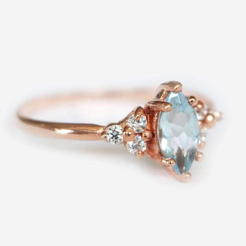 0.44 Carats 14k Solid Rose Gold Aquamarine Engagement Ring - SOVATS