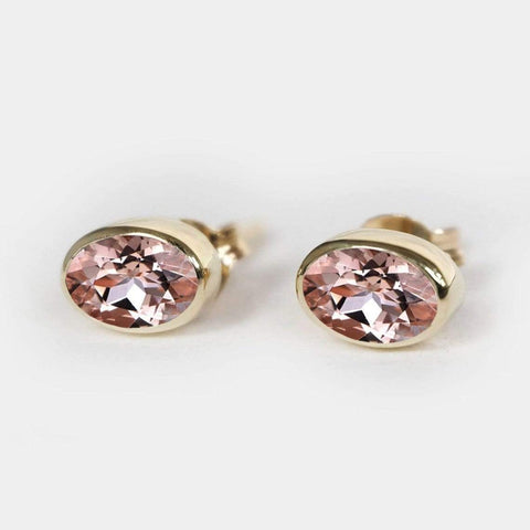 0.10 Carats 14k Solid Rose Gold Amethyst Earrings