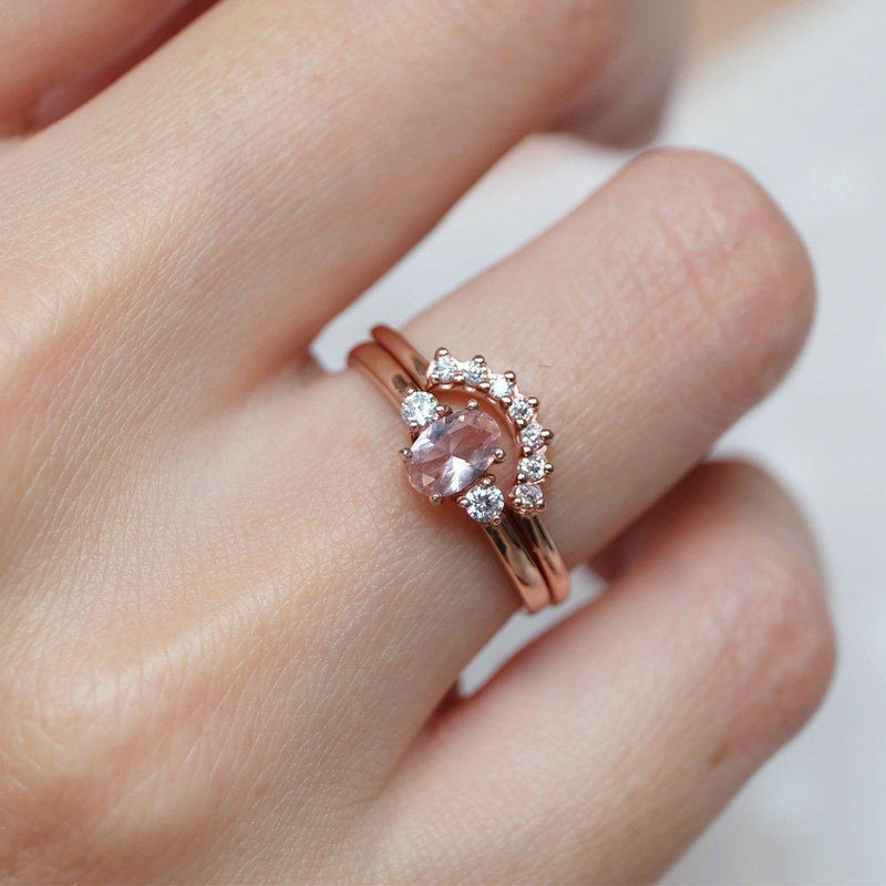 0.45 Carats 14k Solid Rose Gold Morganite Engagement Ring Set - SOVATS