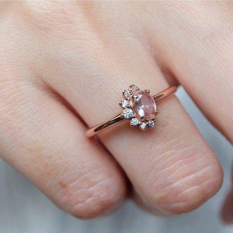 0.45 Carats 14k Solid Rose Gold Morganite Engagement Ring - SOVATS