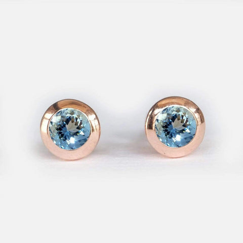 0.70 Carats 14k Solid Rose Gold Sapphire Earrings