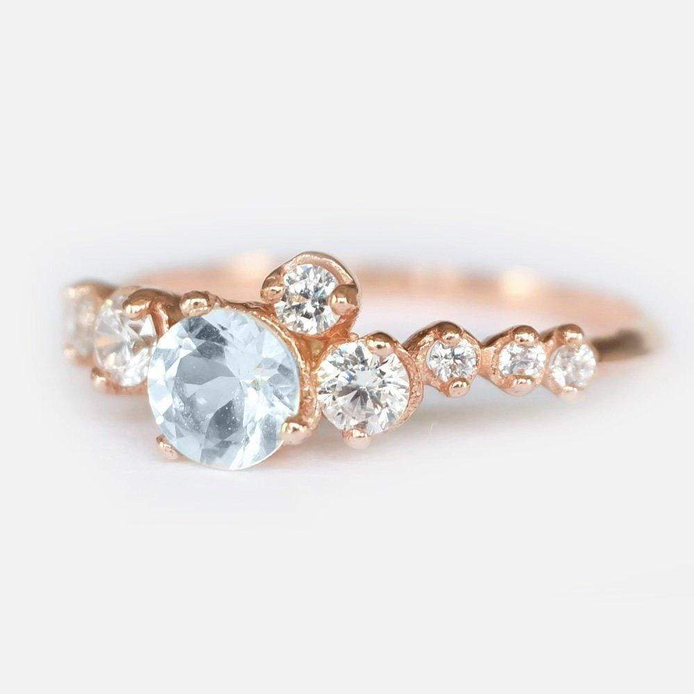 0.46 Carats 14k Solid Rose Gold Aquamarine Engagement Ring - SOVATS
