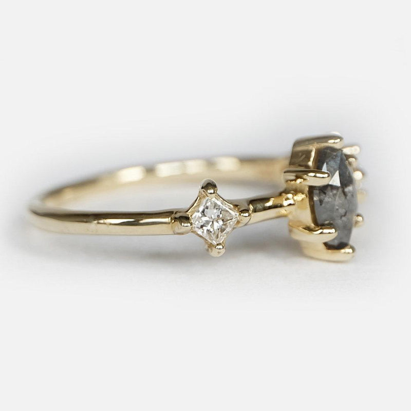 0.47 Carats 14k Solid Gold Salt and Pepper Natural Diamond Engagement Ring - SOVATS