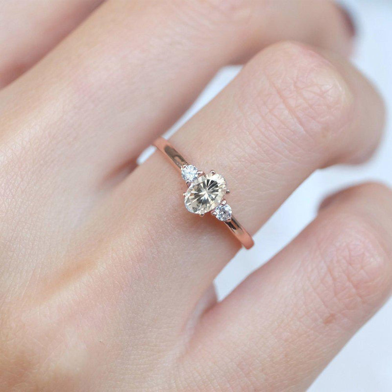 0.51 Carats 14k Solid Rose Gold White Topaz Engagement Ring - SOVATS