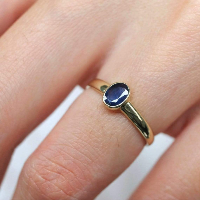 0.60 Carats 14k Solid Gold Sapphire Engagement Ring - SOVATS
