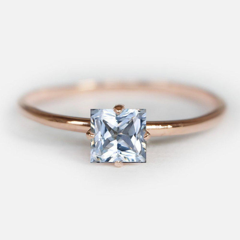 0.60 Carats 14k Solid Rose Gold Aquamarine Engagement Ring - SOVATS