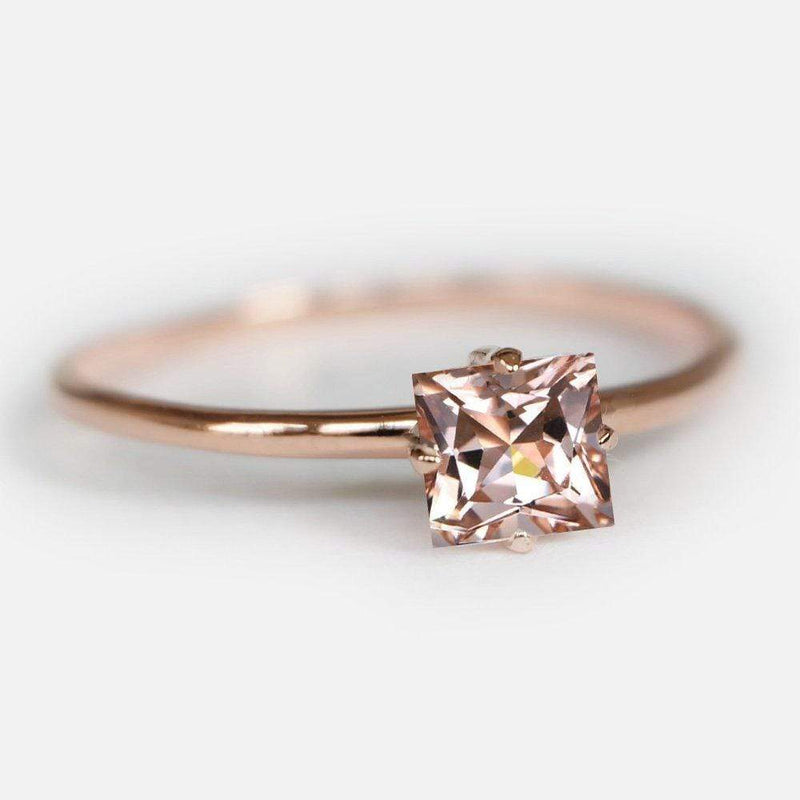 0.60 Carats 14k Solid Rose Gold Morganite Engagement Ring - SOVATS