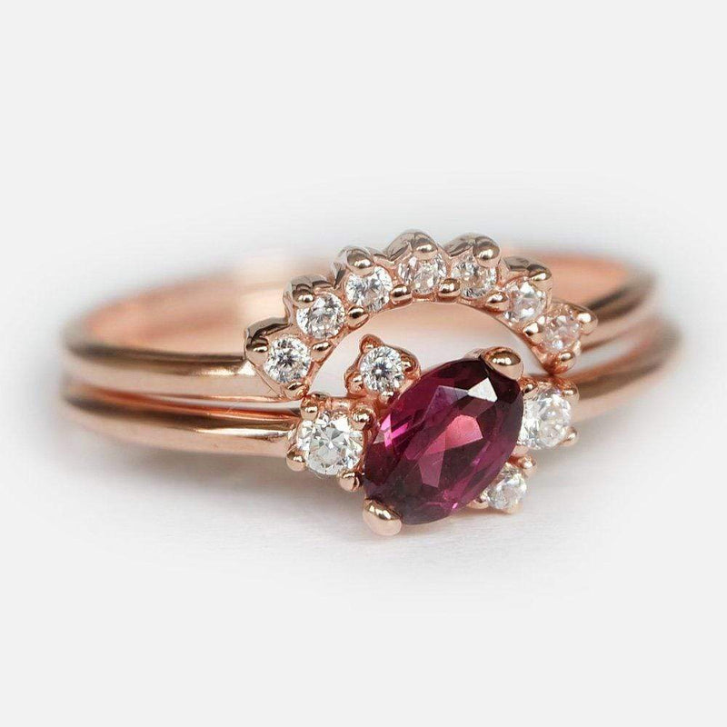 0.60 Carats 14k Solid Rose Gold Rhodolite Engagement Ring Set - SOVATS