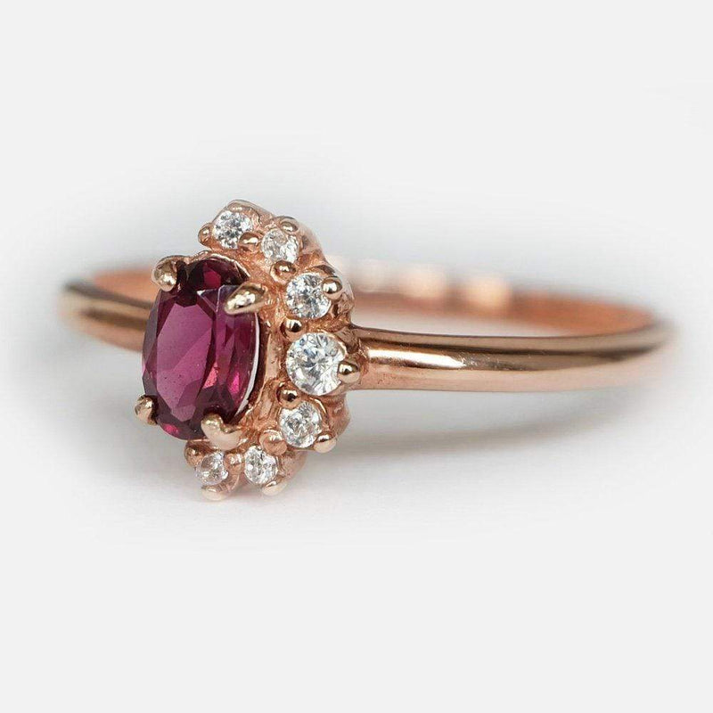 0.60 Carats 14k Solid Rose Gold Rhodolite Engagement Ring - SOVATS