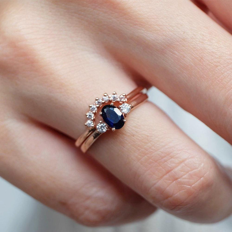 0.60 Carats 14k Solid Rose Gold Sapphire Engagement Ring Set - SOVATS