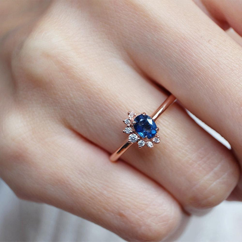 0.60 Carats 14k Solid Rose Gold Sapphire Engagement Ring - SOVATS