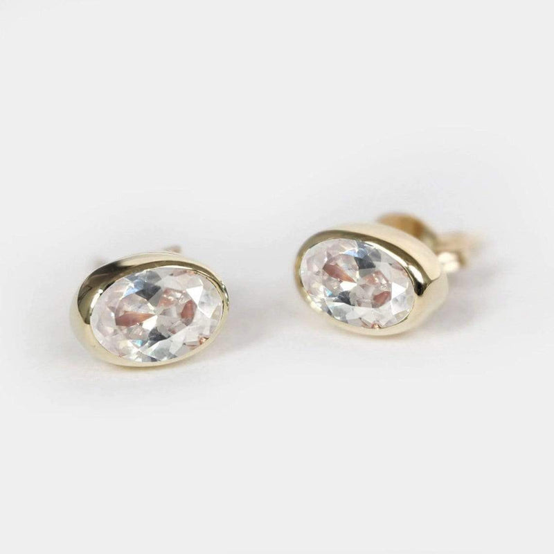 0.60 Carats 14k Solid Rose Gold White Topaz Earrings - SOVATS