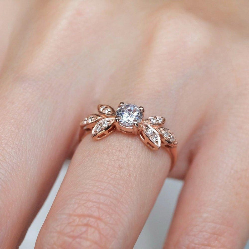 0.60 Carats 14k Solid Rose Gold White Topaz Engagement Ring - SOVATS