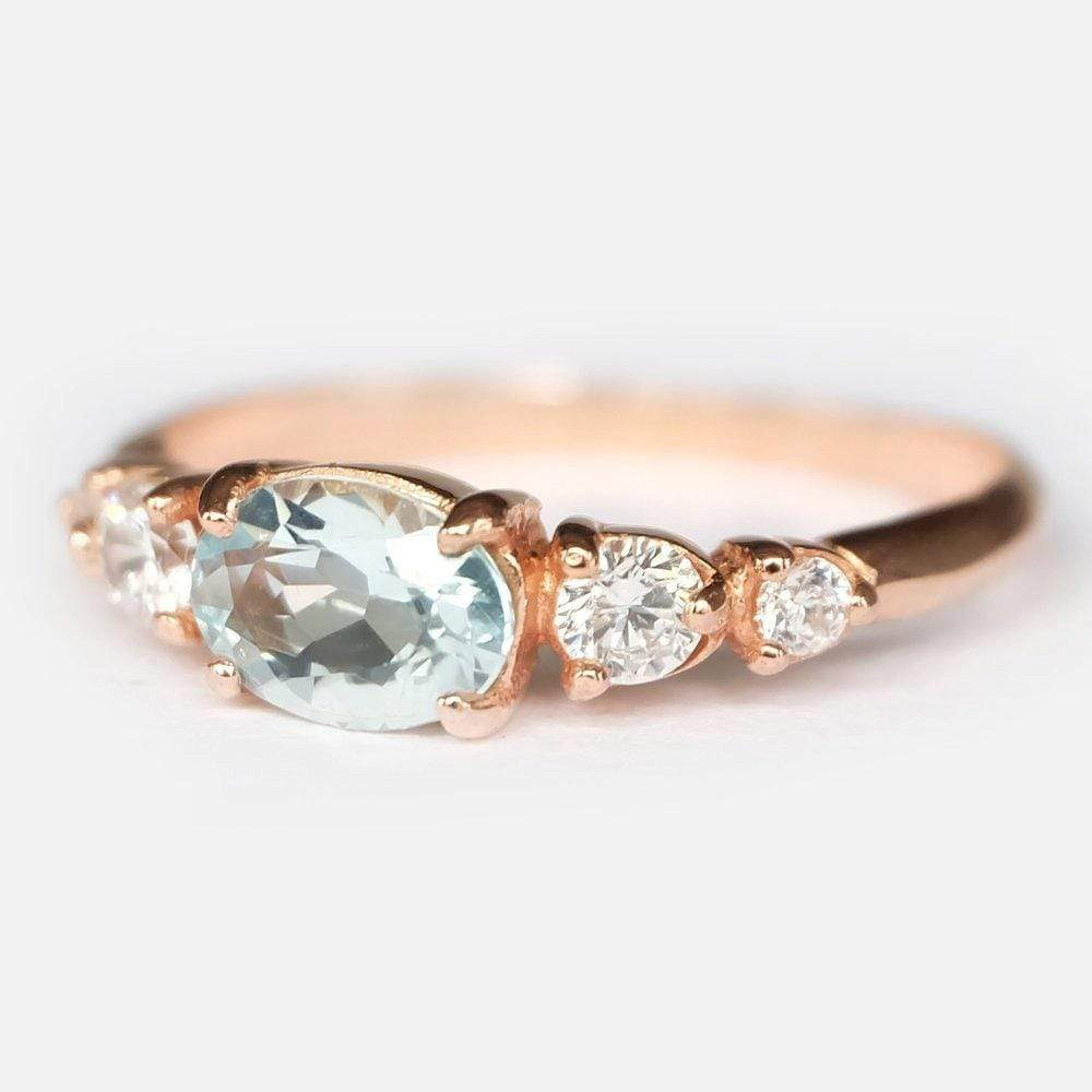 0.70 Carats 14k Solid Rose Gold Aquamarine Engagement Ring - SOVATS