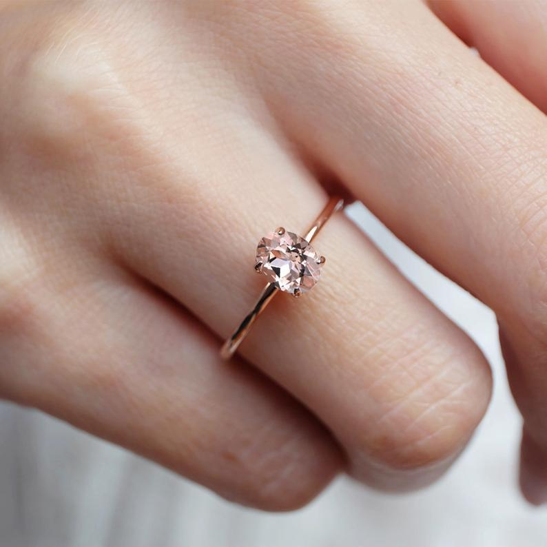 0.70 Carats 14k Solid Rose Gold Morganite Engagement Ring - SOVATS
