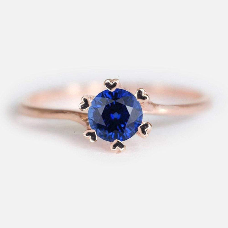 0.70 Carats 14k Solid Rose Gold Sapphire Heart Prong Engagement Ring - SOVATS