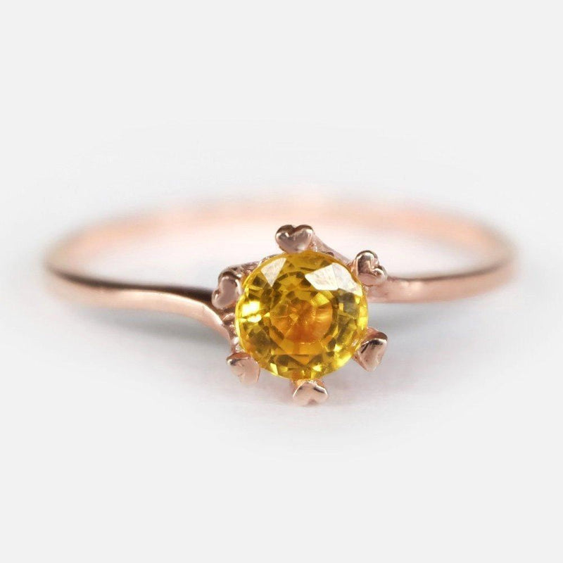 0.70 Carats 14k Solid Rose Gold Yellow Sapphire Heart Prong Engagement Ring - SOVATS