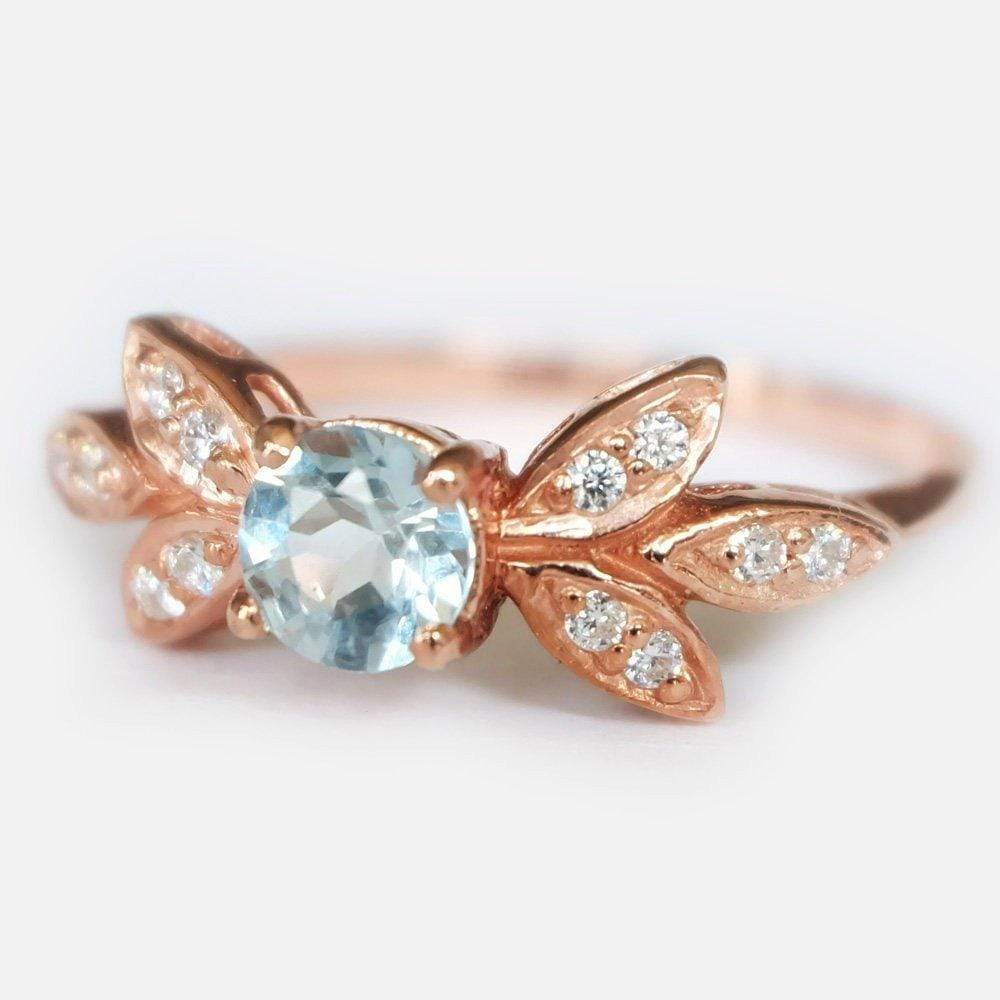 0.80 Carats 14k Solid Rose Gold Aquamarine Engagement Ring - SOVATS