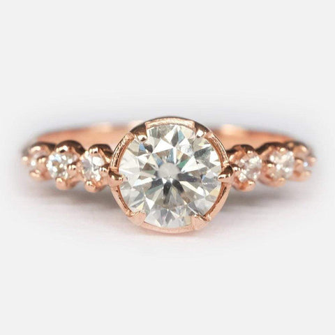 0.09 Carats 14k Solid Rose Gold Tourmaline Engagement Ring