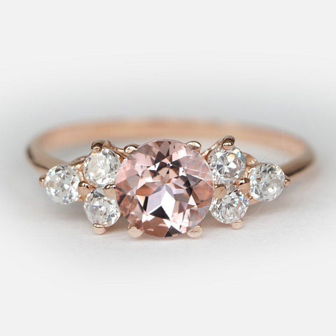 0.44 Carats 14k Solid Rose Gold Amethyst Engagement Ring