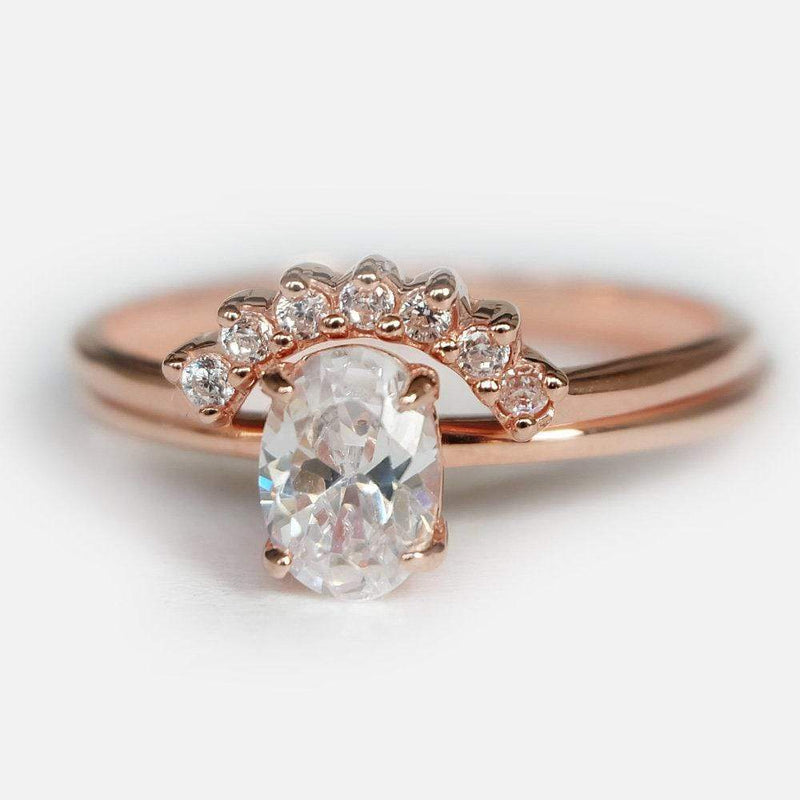 0.90 Carats 14k Solid Rose Gold White Topaz Engagement Ring Set - SOVATS