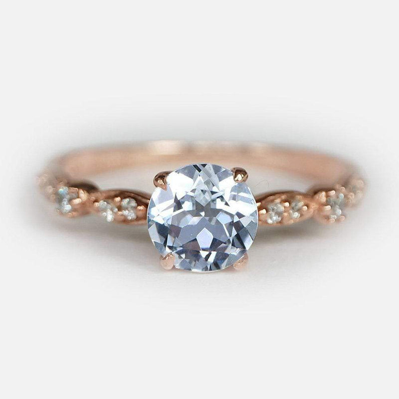 1.10 Carats 14k Solid Rose Gold Aquamarine Engagement Ring - SOVATS