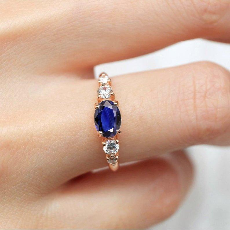 1.10 Carats 14k Solid Rose Gold Sapphire Engagement Ring - SOVATS