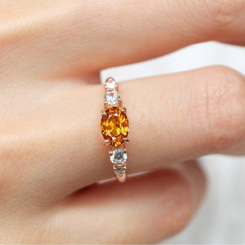 1.10 Carats 14k Solid Rose Gold Yellow Sapphire Engagement Ring - SOVATS