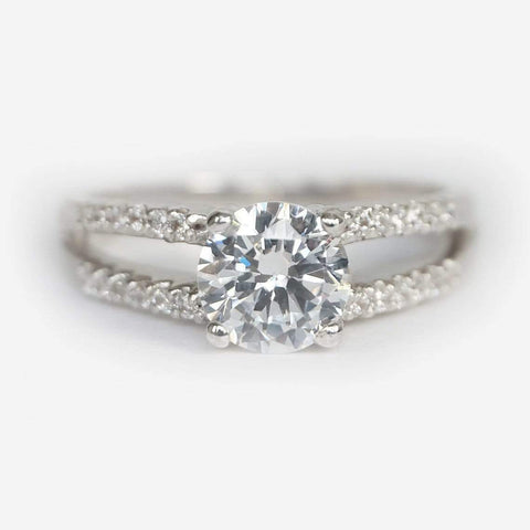 0.90 Carats 14k Solid White Gold Moissanite Engagement Ring