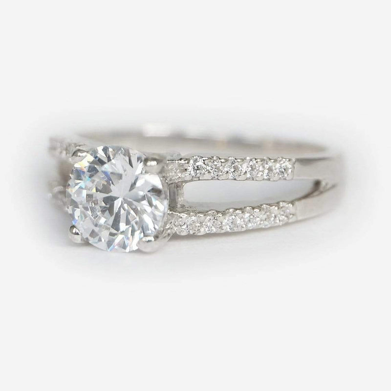 1.10 Carats 14k Solid White Gold Moissanite Engagement Ring - SOVATS