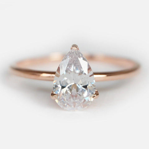 1.50 Carats 14k Solid Rose Gold White Topaz Engagement Ring