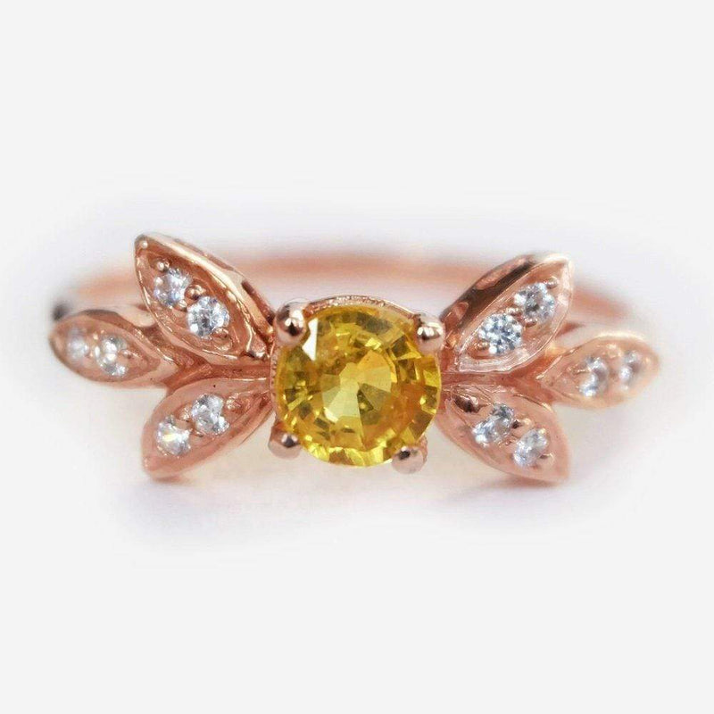 1.20 Carats 14k Solid Rose Gold Yellow Sapphire Engagement Ring - SOVATS