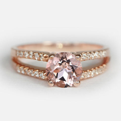 1 Carats 14k Solid Rose Gold Morganite Engagement Ring