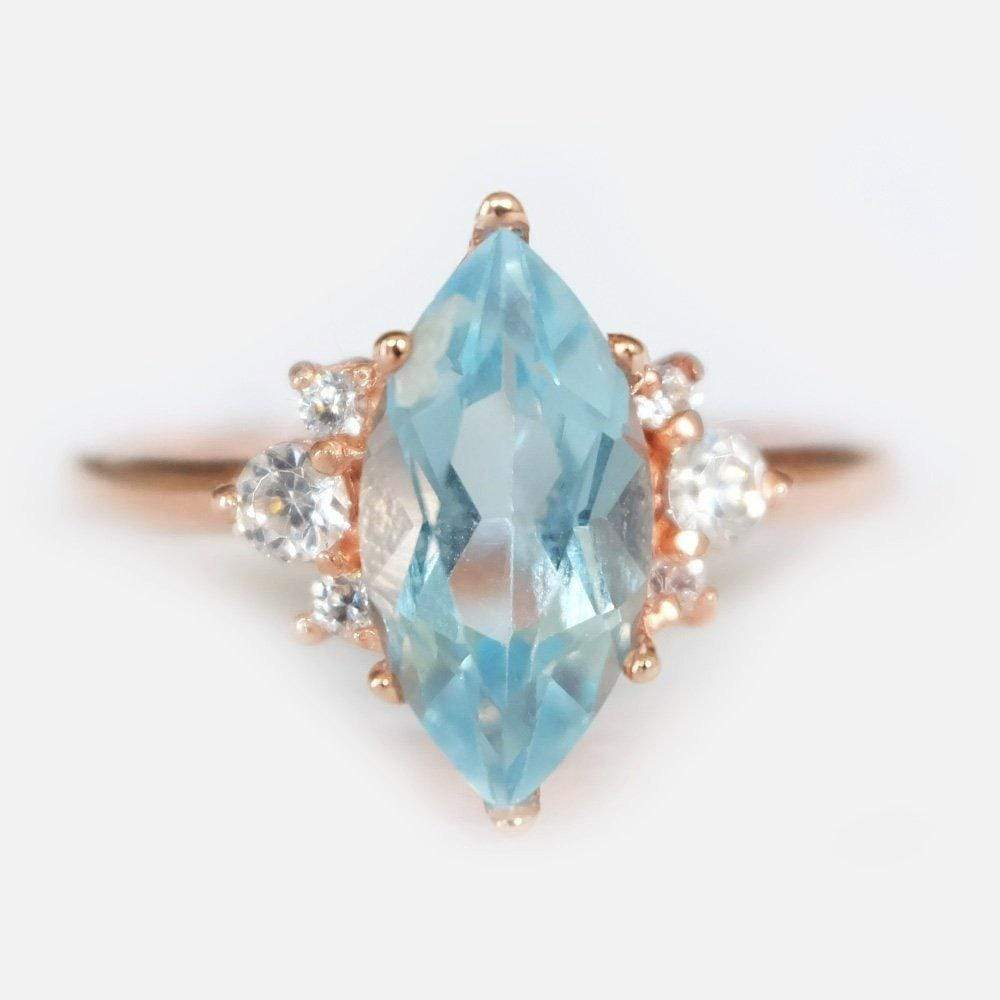 1.40 Carats 14k Solid Rose Gold Aquamarine Engagement Ring - SOVATS
