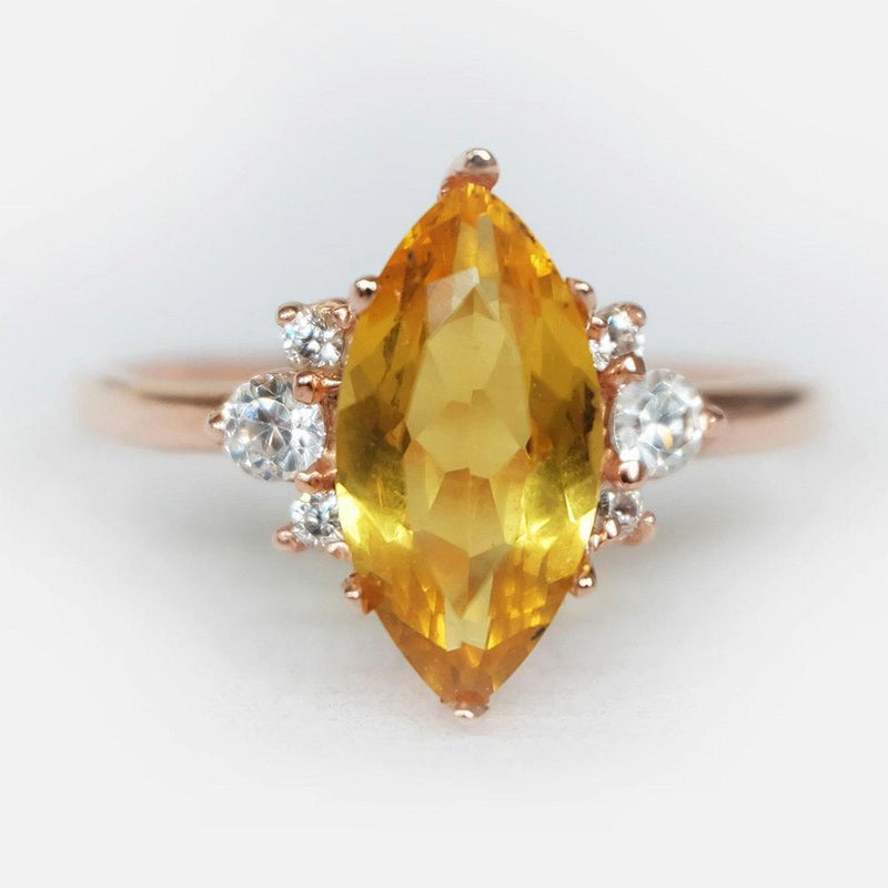 1.40 Carats 14k Solid Rose Gold Citrine Engagement Ring - SOVATS